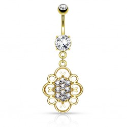 Piercing nombril plaqué-or 54 - Deluxe multistrass