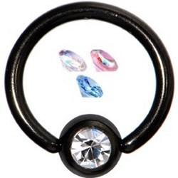 Piercing micro-bcr 21 - PVD noir strass