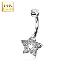 Piercing nombril or 14K blanc 23 - étoile