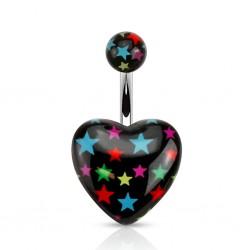 Piercing nombril UV 110 - Coeur noir étoiles