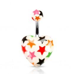 Piercing nombril UV 111 - Coeur blanc étoiles