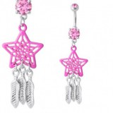 Piercing nombril attrape rêve 03 - étoile rose
