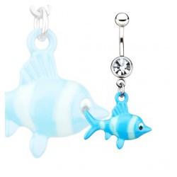 Piercing nombril poisson bleu (58)