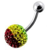 Piercing nombril cristal 46 - Férido rasta boule