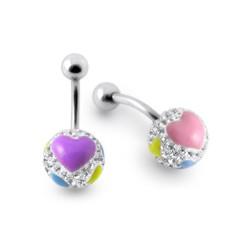 Piercing nombril cristal 56 - Férido boule fantaisy