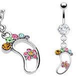 Piercing nombril pied multicolore (D42)