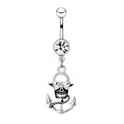 Piercing nombril gothique 85 - Crâne et ancre