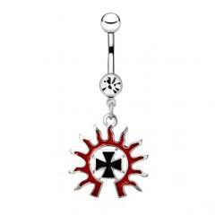 Piercing nombril tribal 34 - Croix soleil rouge