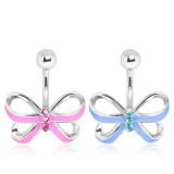 Piercing nombril noeud papillon 04 - Rose ou bleu-clair