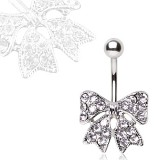 Piercing nombril noeud papillon 06 - Multistrass transparent