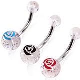 Piercing nombril UV 85 - Fleur et paillettes