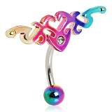 Piercing nombril tribal 58 - Inversé rainbow B