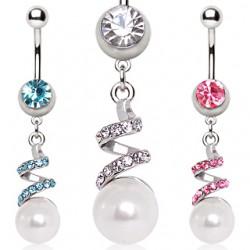 Piercing nombril vrilles et perle (D143)