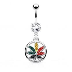 Piercing nombril cannabis 18 - Multicolore