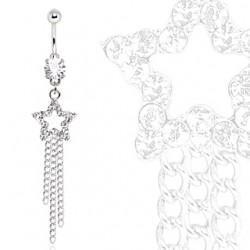Piercing nombril étoile 07 - Multistrass et chainettes