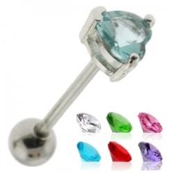Piercing langue 35 - Cristal coeur