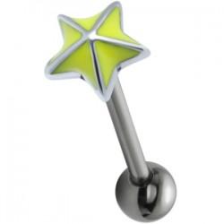 Piercing langue 123 - étoile jaune