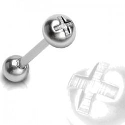 Piercing langue 30 - Boule croix