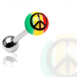 Piercing de langue UV 76 - Rasta peace