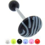 Piercing de langue UV 85 - Zèbre rond plat
