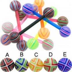 Piercing de langue UV 90 - Flexible checker bicolore B