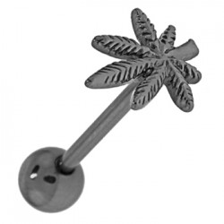Piercing pour langue PVD 17 - Cannabis