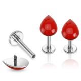 Piercing micro-labret 14 - Goutte rouge