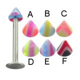 Piercing micro-labret acry 15 - UV pointes striées