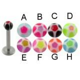 Piercing micro-labret acry 16 - UV étoile boule