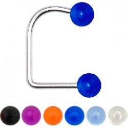 Piercing labret UV 18 - En U boules acrylique