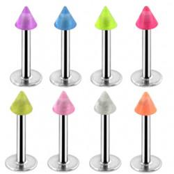 Piercing labret UV 09 - Pointe fluorescente