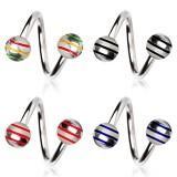 Piercing micro-spirale 44 - Acier boules striées