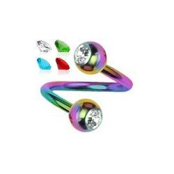 Piercing spirale 37 - PVD rainbow strass