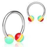 Piercing micro-circulaire 17 - UV rasta boules