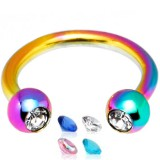 Piercing fer à cheval 23 - PVD rainbow strass