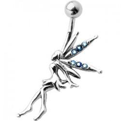 Piercing nombril fée 08 - Aile avec strass bleu-clair