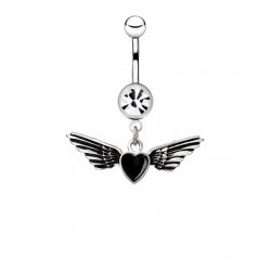 Piercing nombril ange 01 - Coeur avec deux ailes