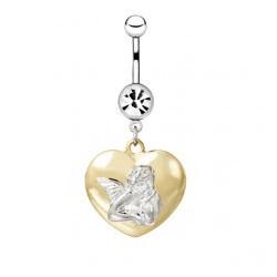 Piercing nombril ange 07 - Coeur jaune