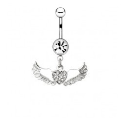 Piercing nombril ange 16 - Coeur multistrass deux ailes
