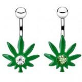 Piercing nombril cannabis 06 - Vert et strass