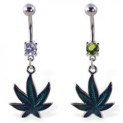 Piercing nombril cannabis 10 - Vert époxy