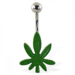 Piercing nombril cannabis 17 - Vert simple