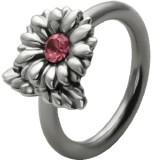 Piercing anneau 1,6mm 96 - Fleur strass rose