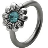 Piercing anneau 1,6mm 97 - Fleur strass bleu-clair