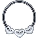 Piercing anneau 1,6mm 102 - Trois coeurs
