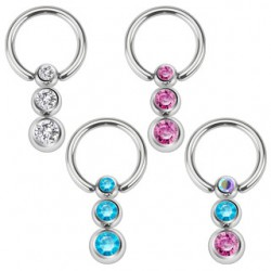 Piercing anneau 1,6mm 14 - Triple strass