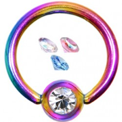 Piercing anneau 1,6mm 30 - PVD rainbow strass