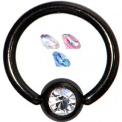 Piercing anneau 1,6mm 31 - PVD noir strass