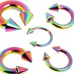 Piercing fer à cheval PVD rainbow pointes 2 à 6mm