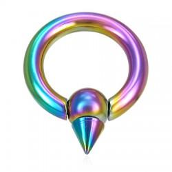 Piercing anneau PVD rainbow boule et pointe 05mm